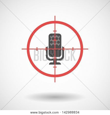 Isolated Line Art Crosshair Icon With  A Microphone Sign