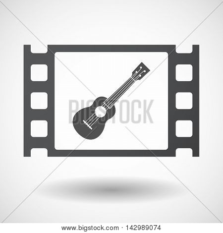 Isolated Celluloid Film Frame Icon With  An Ukulele