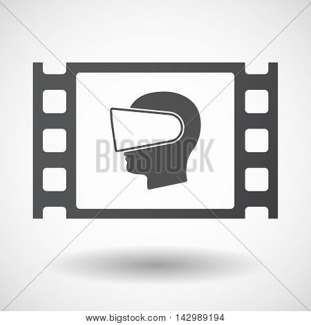 Isolated Celluloid Film Frame Icon With  A Male Head Wearing A Virtual Reality Headset
