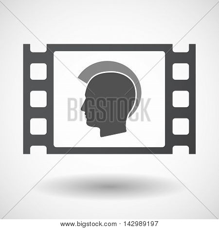 Isolated Celluloid Film Frame Icon With  A Male Punk Head Silhouette