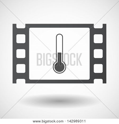 Isolated Celluloid Film Frame Icon With  A Thermometer Icon