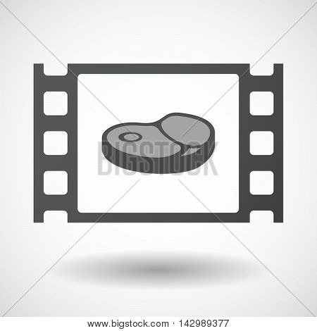 Isolated Celluloid Film Frame Icon With  A Steak Icon