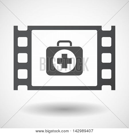 Isolated Celluloid Film Frame Icon With  A First Aid Kit Icon