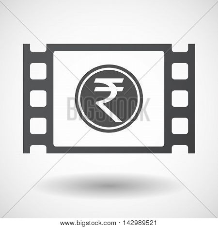 Isolated Celluloid Film Frame Icon With  A Rupee Coin Icon