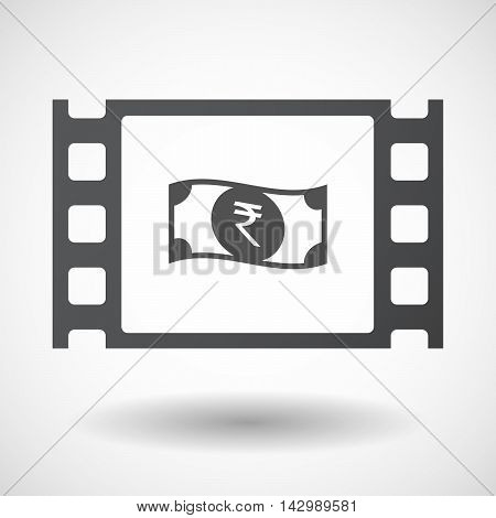 Isolated Celluloid Film Frame Icon With  A Rupee Bank Note Icon
