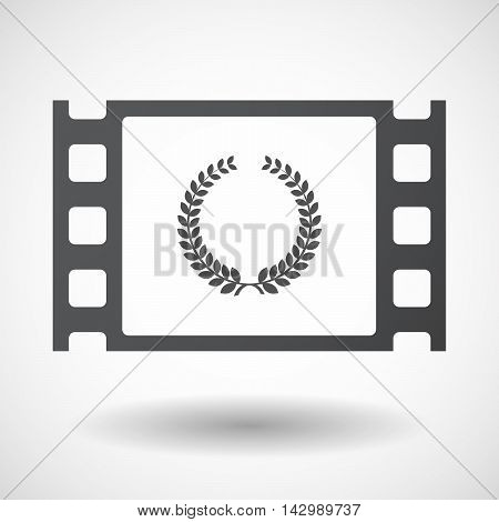 Isolated Celluloid Film Frame Icon With  A Laurel Crown Sign