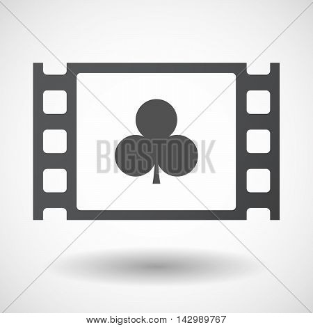 Isolated Celluloid Film Frame Icon With  The  Club  Poker Playing Card Sign