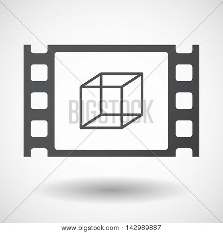 Isolated Celluloid Film Frame Icon With  A Cube Sign