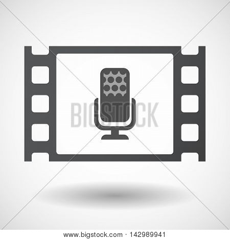 Isolated Celluloid Film Frame Icon With  A Microphone Sign