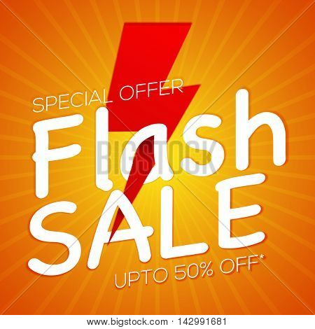 Special Offer, Flash Sale with upto 50% Off, Creative Poster, Banner or Flyer design, Vector illustration.