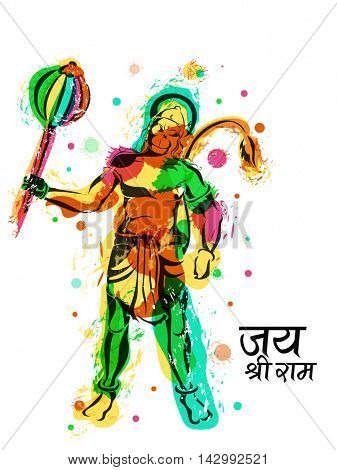 Creative illustration of Lord Hanuman made by abstract colourful splash, Happy Dussehra celebration background with Hindi Text Jai Shri Ram (Hail Lord Rama), Indian Festival concept.