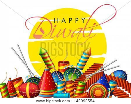Collection of colorful glossy Firecrackers for Indian Festival of Lights, Happy Diwali Celebration, Vector illustration.