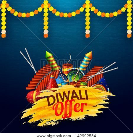 Diwali Festival, Sale Offer Background, Flyer, Brochure, Magazine Cover etc. Vector illustration with Crackers for advertisement and promotion.