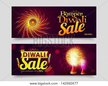 Elegant Bumper Diwali Sale, Website Header or Banner Set, Big Discount Upto 70%, Exploding Crackers for Indian Festival of Lights Celebration.