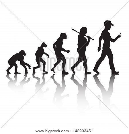 Human evolution Darwin's theory. The game on the phone. Vector illustration
