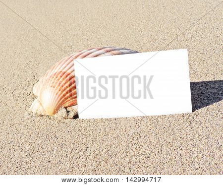 Beach with blank greeting card or business card. Beach background with copy space.