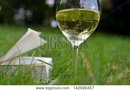 macro glass of white wine and book in nature