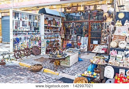 The wide range of interesting souvenirs in the large store in Uchisar Cappadocia Turkey.