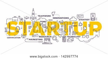 Vector creative illustration of business startup word lettering typography with line icons and tag cloud on white background. Startup technology concept. Thin line art style design for business startup service development theme