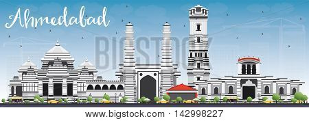 Ahmedabad Skyline with Gray Buildings and Blue Sky. Vector Illustration. Business Travel and Tourism Concept with Historic Buildings. Image for Presentation Banner Placard and Web Site.
