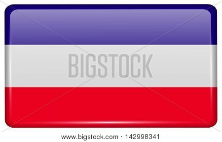 Flags Los Altos In The Form Of A Magnet On Refrigerator With Reflections Light. Vector