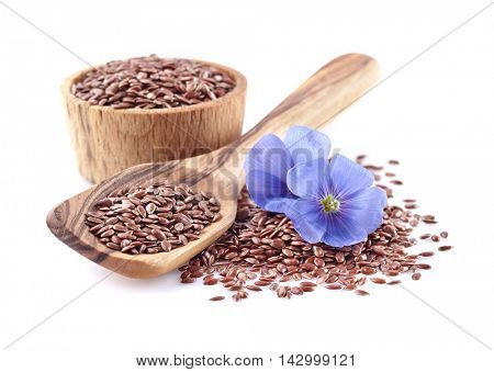 Flax seeds in a wooden spoon
