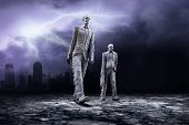 Crisis in world on dark sky with lightning poster