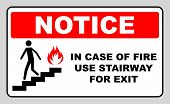 in case of fire use stairway for exit sign. man going on emergency exit. warning banner. vector symbol. notice sticker for flight of stairs. poster