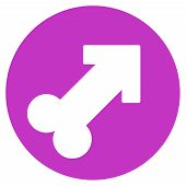 Erection vector icon. Style is flat symbol, violet color, rounded angles, white background. poster