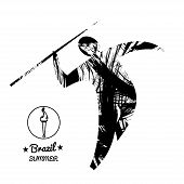 Brazil summer sport card with an abstract spear thrower in black outlines. Digital vector image poster