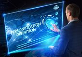 Business Technology Internet and network concept. Technology future. Young businessman working on the smartphone of the future clicks on the virtual display button: Personification Definition poster