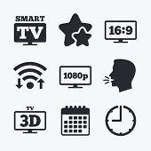 Smart TV mode icon. Aspect ratio 16:9 widescreen symbol. Full hd 1080p resolution. 3D Television sign. Wifi internet, favorite stars, calendar and clock. Talking head. Vector poster