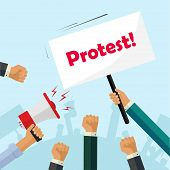 Protesters hands holding protest signs, crowd of angry people, political poster, activist fists, revolution placard concept, flat cartoon style modern design vector illustration poster
