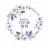 Watercolor floral boho flower wreath. Watercolour natural frame: leaves feather and birds. Isolated on white background. Artistic bohemian decoration illustration. Save the date. Tribal poster