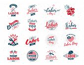 Happy labor day typographic emblems, labels set. Isolated vector elements. Calligraphy, lettering design. Badges usable for greeting cards, posters, banners. poster