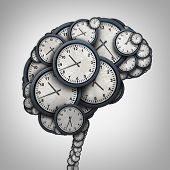 Time brain thinking concept as a group of clock objects shaped as a human mind as a business punctuality and appointment stress metaphor or deadline pressure and overtime icon as a 3D illustration. poster