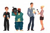 Beautiful female journalist, interviewee, reporter and operator, cartoon style vector illustration isolated on white background. Full height cameraman and reporter, journalist taking interview poster