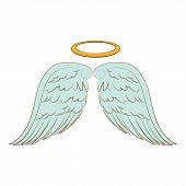 wing halo angel heaven aureole bird freedom vector  isolated illustration poster