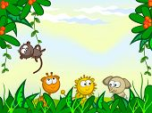 Vector cartoon background. Jungle. The frame of the plant. They protrude from African animals. Monkey, giraffe, lion, elephant. poster