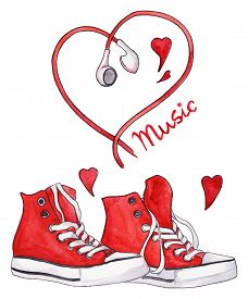 Watercolor red sneakers and heart shaped earphones love music isolated