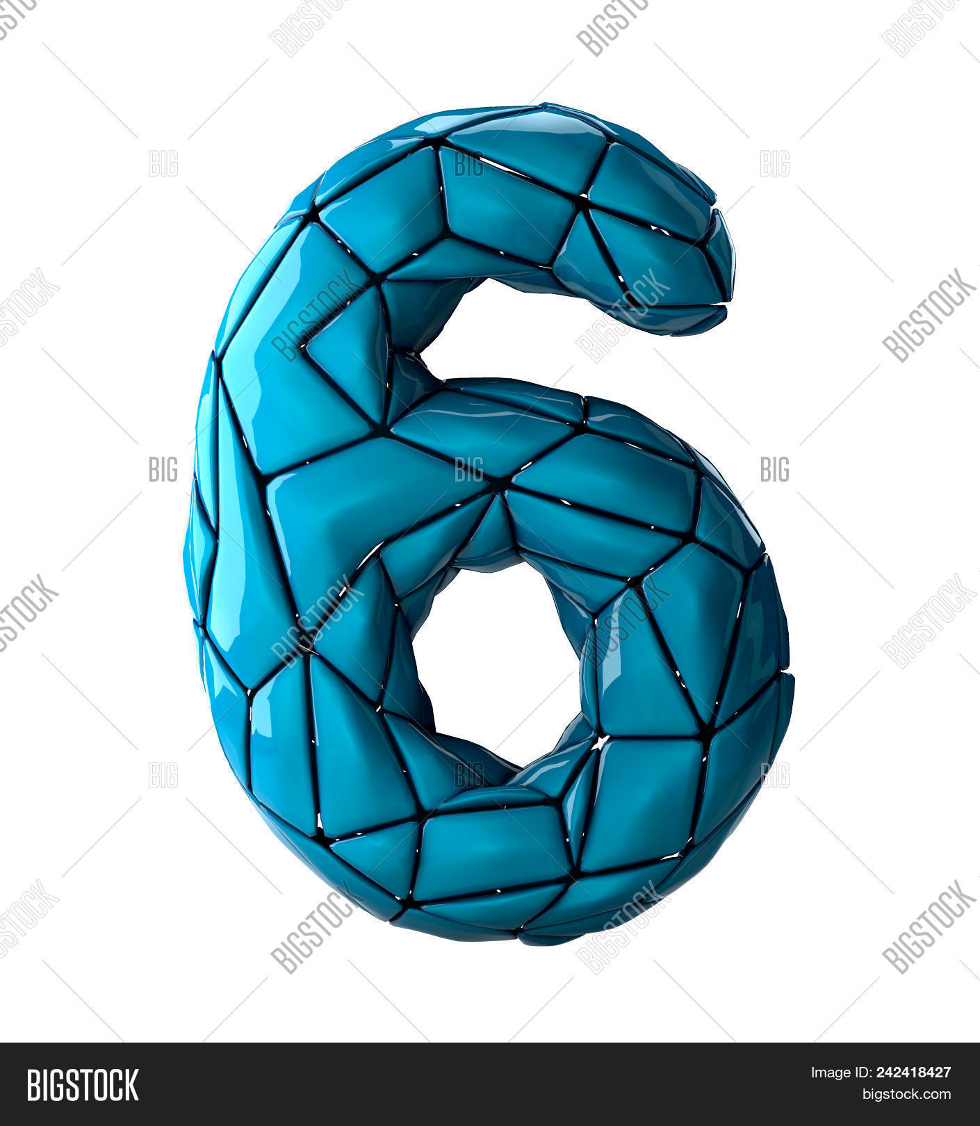 Number 6 Six In Low Poly Style Blue Color Isolated