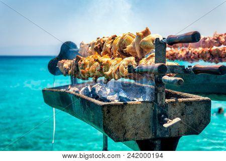 Cooking Fresh Cypriot Souvla On The Sea