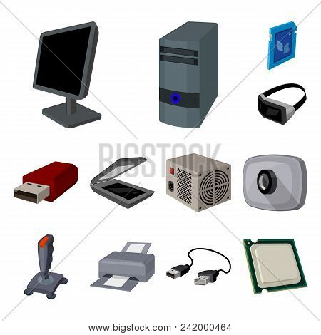 Personal Computer Cartoon Icons In Set Collection For Design. Equipment And Accessories Vector Symbo