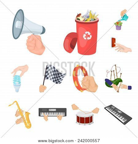Manipulation By Hands Cartoon Icons In Set Collection For Design. Hand Movement Vector Symbol Stock