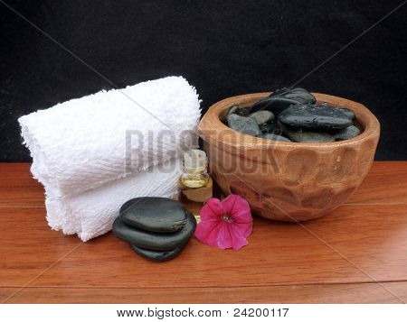 Spa Massage Setup; Includes Tools Used For A Spa Massage Including Hot Stones, Scented Natural Body