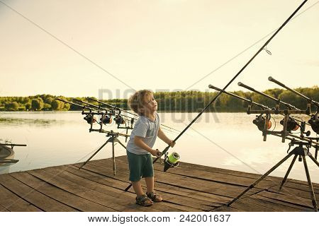 Happy Kid Having Fun. Angling Child With Fishing Rod On Wooden Pier. Angling, Fishing, Activity, Adv