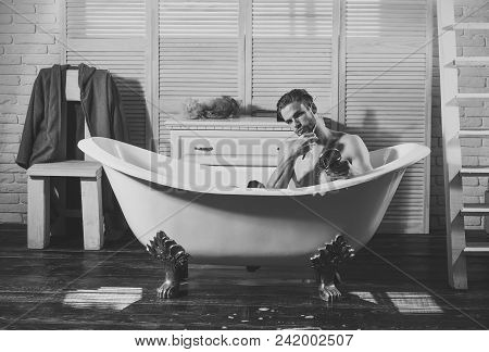 Male Face. Issues Affecting Boy. Shaving Beard With Razor. Young Man Shaving Beard In Morning With R