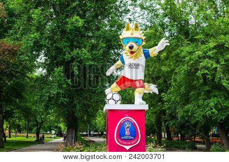 Rostov-on-don, Russia - May 18, 2018: The Official Mascot Of The 2018 Fifa World Cup And The Fifa Co