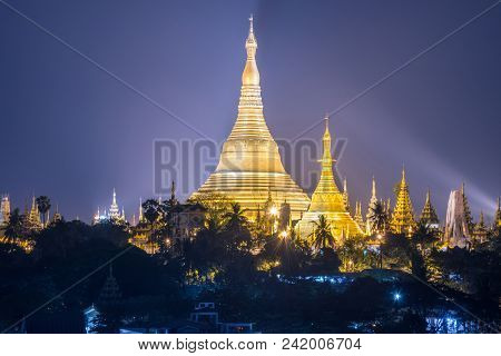 Scenery View Of Shwedagon Pagoda The Heart Of Yangon Township Of Myanmar At Night.