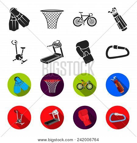 Exercise Bike, Treadmill, Glove Boxer, Lock. Sport Set Collection Icons In Black, Flet Style Vector